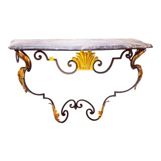 1860s French Iron Gold Leaf & Gray Marble Console For Sale