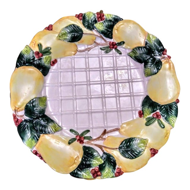 6 Piece Vintage Fitz and Floyd Large Holiday Christmas Embossed Pear Lattice Platter Plates Dishes For Sale
