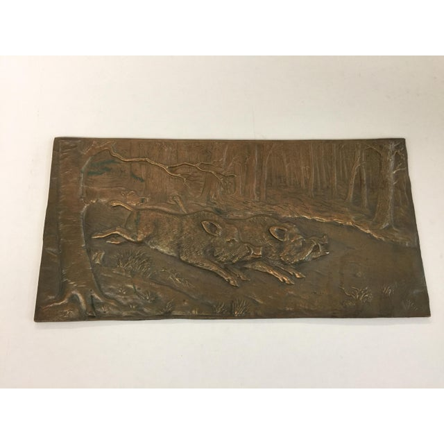 "Bronze relief placque by German Artist H Henjes. Signed. This placque measures 18""x9"" and is in very good condition. Has..."