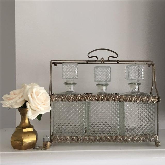 Transparent Vintage Tantalus Decanter Set - Set of 3 For Sale - Image 8 of 8