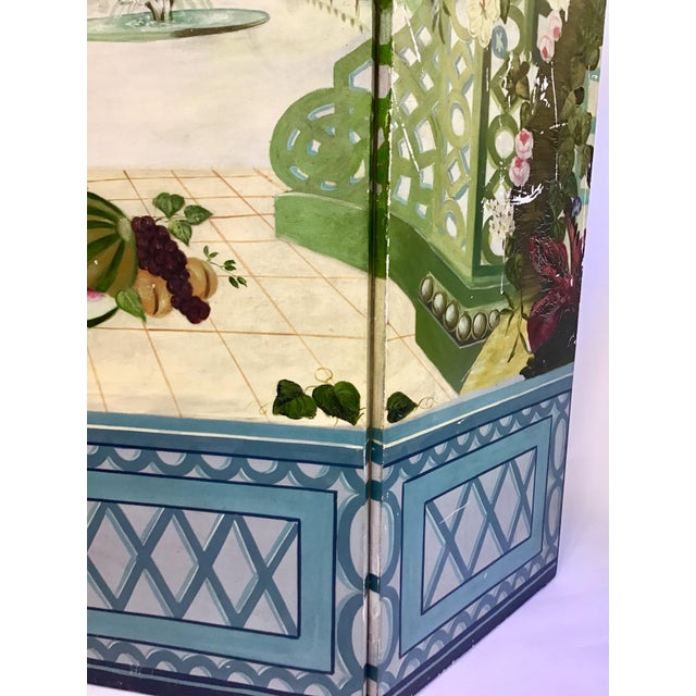 Maitland - Smith Maitland Smith Handpainted 3-Panel Screen For Sale - Image 4 of 10