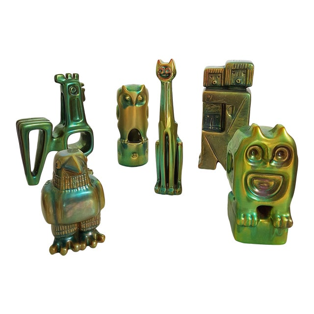 Set of Six Ceramic Eosin Figures by Zsolnay, With 1960s Stamps For Sale