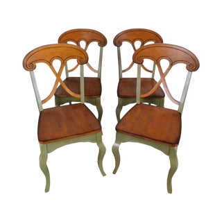 French Country Style Green Painted Solid Wood Set 4 Dining Chairs For Sale