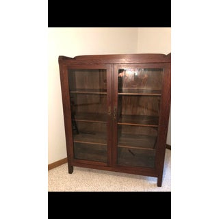 Antique Art and Crafts Stickley Style Glass Front Book Shelf Cabinet Bookcase Preview