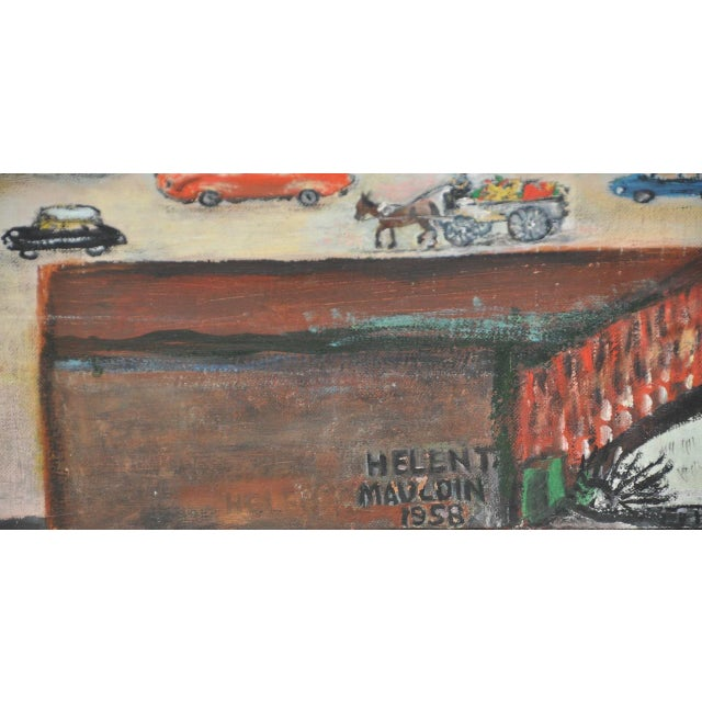 """Large Scale New York City """"United Nations"""" Folk Art Painting by Helen Mauldin C.1958 For Sale - Image 10 of 13"""