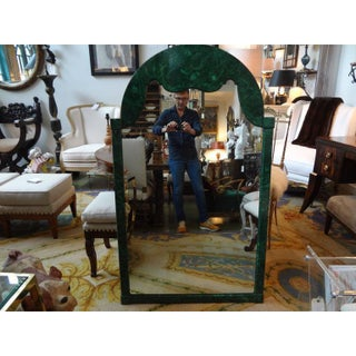 1960's Vintage Italian Faux Malachite Lacquered Mirror Preview