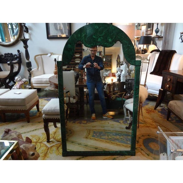 Stunning Italian Hollywood regency faux malachite lacquered wood mirror. Well-made, faux design very realistic. Circa 1960.