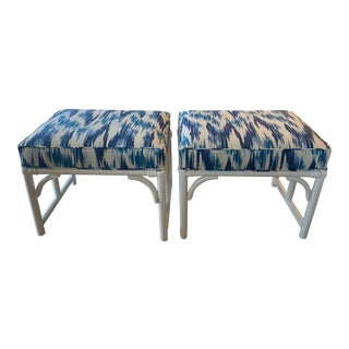 Vintage Rattan Bamboo White Lacquered Upholstered Blue Benches Stools -A Pair For Sale