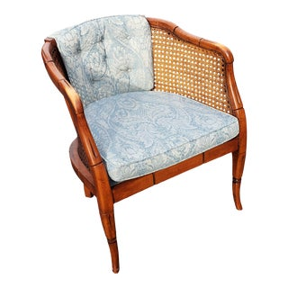 Vintage Sam Moore Caned and Upholstered Club Chair For Sale