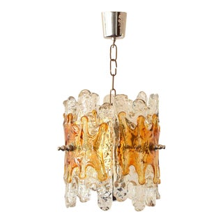 Mid Century Amber Glass Chandelier For Sale