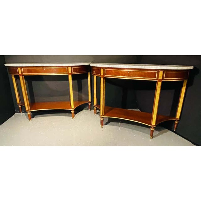 Neoclassical Pair of Russian Neoclassical Consoles / Sofa Tables or Sideboards, Demilune For Sale - Image 3 of 13