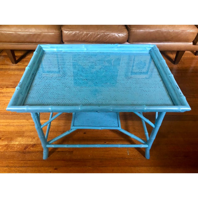 Turquoise Blue Bamboo Rattan Table For Sale In Charleston - Image 6 of 10
