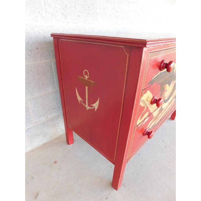 Wood Antique Mahogany Custom Paint Decorated 3 Drawer Chest For Sale - Image 7 of 13