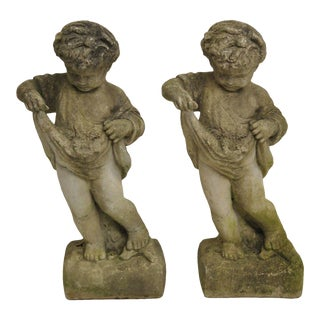 Pair of Concrete Four Seasons Style Baby Cherub Cement Garden Sculptures For Sale