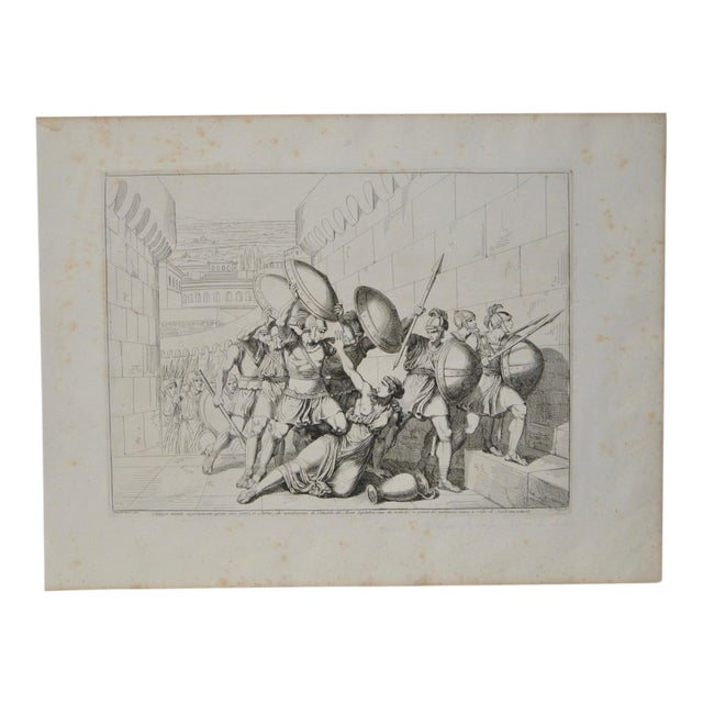 """Bartolomeo Pinelli Engraving """"Killed in Betrayal"""" c. 1818 For Sale"""