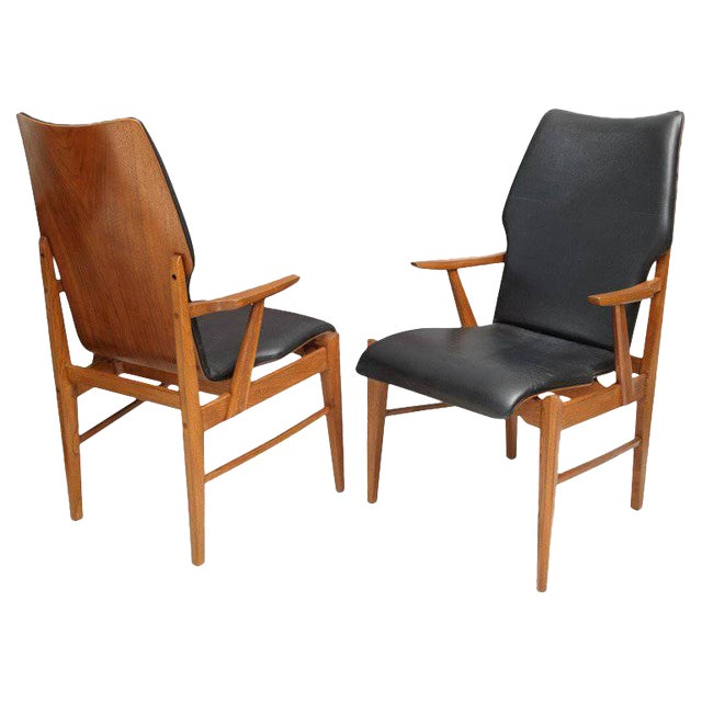 Pair of Danish Modern and Teak Armchairs For Sale
