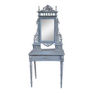 Painted Antique Indonesian Teak Vanity With Beveled Mirror