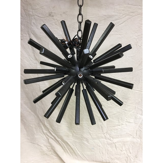 Contemporary Lawrence Small Sputnik Chandelier by E. F. Chapman for Visual Comfort in Aged Iron For Sale - Image 3 of 4