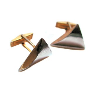 Modernist 50s Artisan Steel Cufflinks For Sale