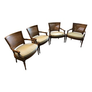 French Louis XV Style Cane Back Chairs - Set of 4 For Sale