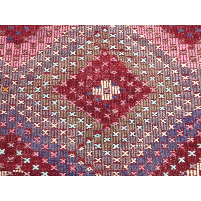 "Vintage Turkish Handmade Kilim Rug-6'1'x9'7"" For Sale - Image 11 of 13"