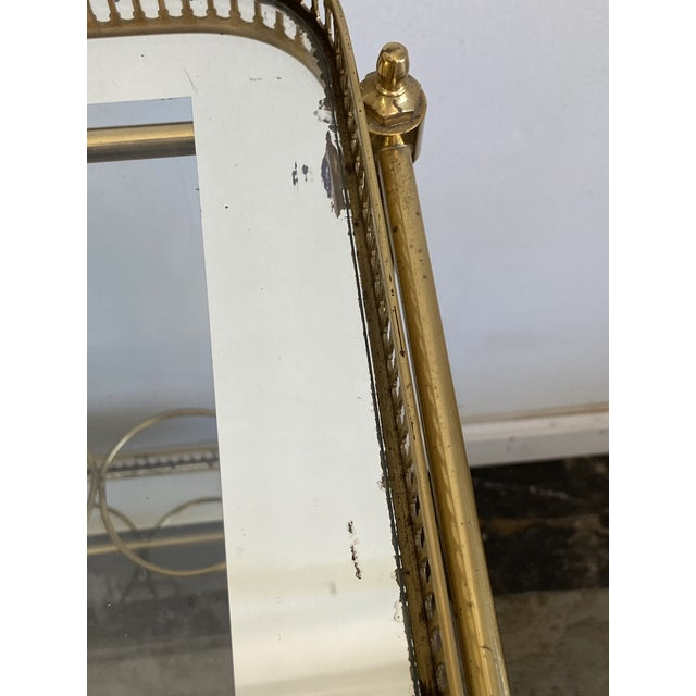 Metal Vintage Brass Bar Cart with Tray For Sale - Image 7 of 12