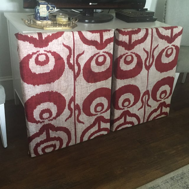 Abstract Silk Velvet Ikat Ottoman Fabric Wall Art Hangings - A Pair For Sale - Image 3 of 11