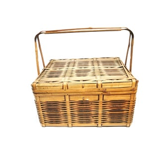 Vintage Mid Century Intricately Woven Bamboo Picnic Basket For Sale