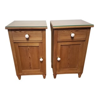 Vintage Pine Bedside Tables / End Tables / Side Tables With Porcelain Knobs From Devon England - a Pair For Sale