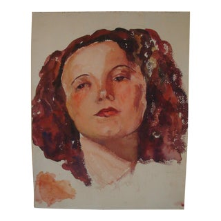 Watercolor Portrait of Woman With Red Hair, 1935 Painting