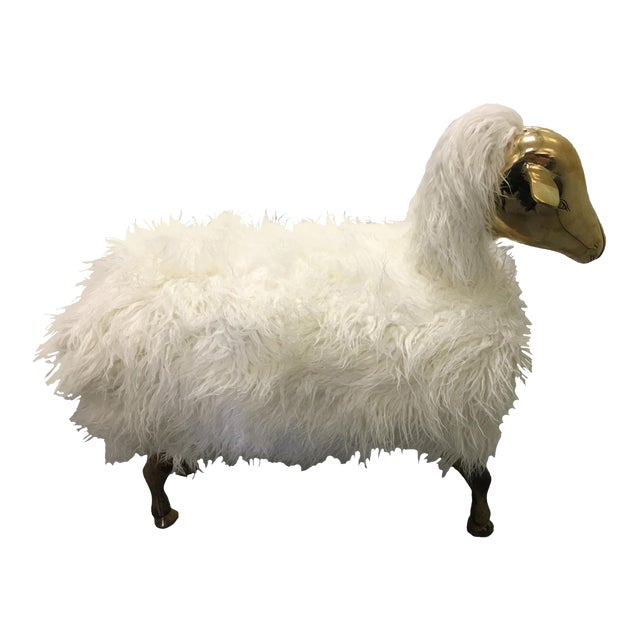 Brass and Faux Lambswool Sheep Footstool - Image 1 of 8