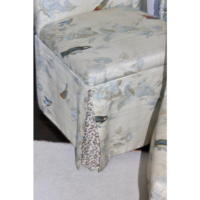 French Country Hollywood Regency French Floral Animal Print Parson Dining Chairs - Set of 6 For Sale - Image 3 of 7