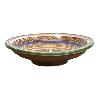 Antique Moroccan Decorative Pottery Bowl For Sale