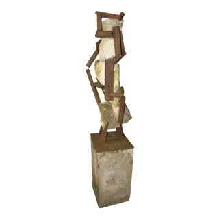 """""""The Dance"""" Modern Steel and Stone Sculpture For Sale"""