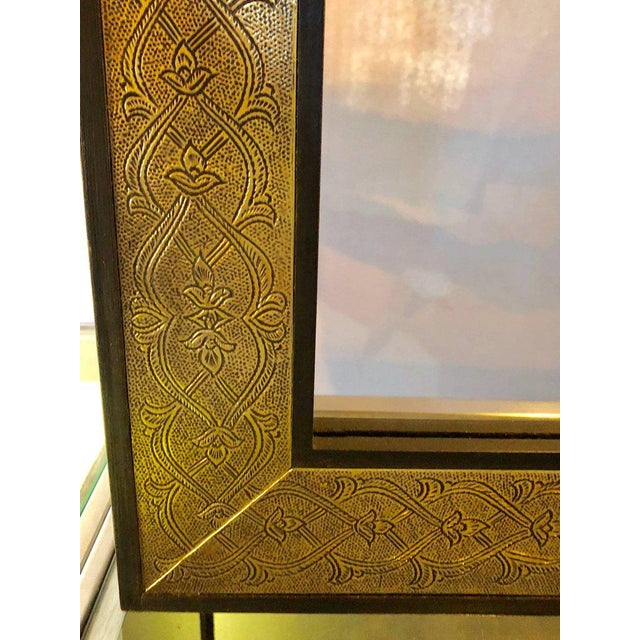 Islamic Hollywood Regency Style Gold Brass Morrocan Mirrors - a Pair For Sale - Image 3 of 9