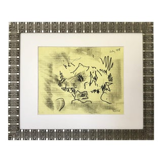 Vintage Abstract Expressionist Drawing by Harold Davies 1975 For Sale