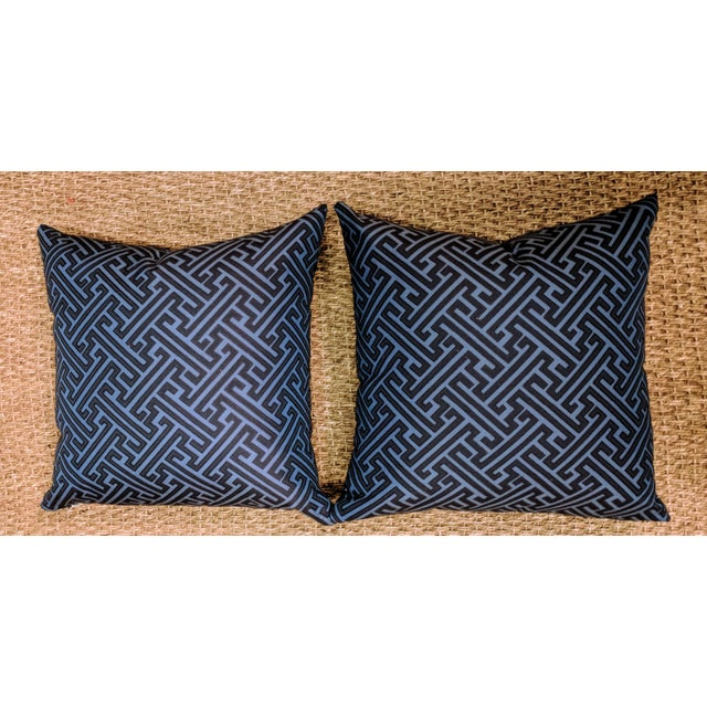 Abstract Robert Allen Mini Network Pillows in Blue - a Pair For Sale - Image 3 of 3
