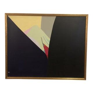 "1970s Hard Edge Oil on Canvas Painting ""Lovers XXII"" by George N. Morris"