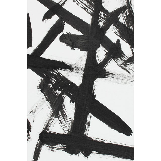 "Rob Delamater ""Parlance 2"" Monochromatic Abstract Expressionist Black Ink Drawing C. 2018 For Sale - Image 4 of 5"