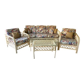 Hollywood Regency Style Rattan/Bamboo Patio Set of 5 For Sale