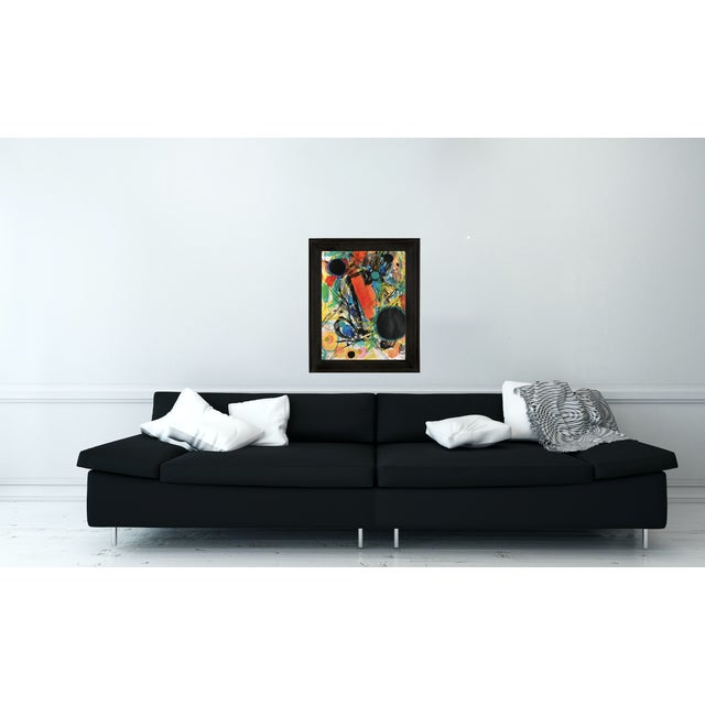 This is an original abstract mix media artwork on gallery paper. Affordable work from my studio. Graphic mid-century...