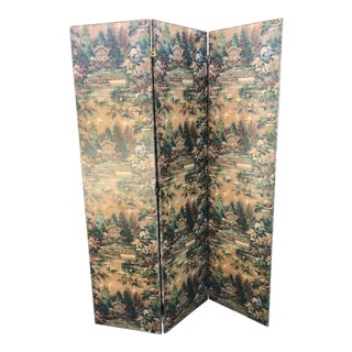 Vintage Floral Three Fold Screen For Sale