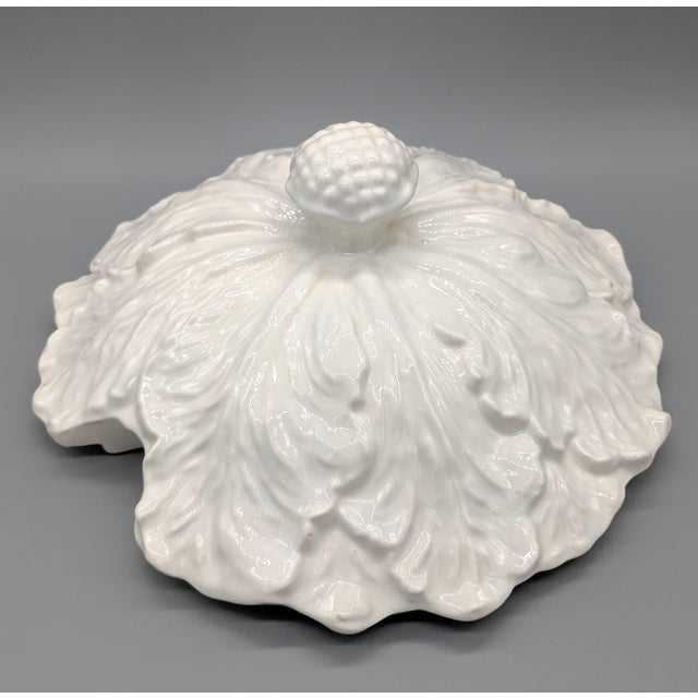 Farmhouse Large Mid-Century White Cabbage Soup Tureen With Ladle and Underplate - 4 Pieces For Sale - Image 3 of 10