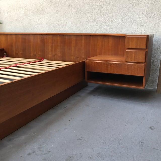 Danish Modern Teak Queen Floating Bed Frame For Sale - Image 9 of 9