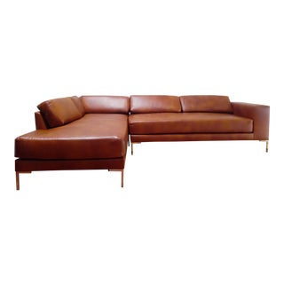 Gr Whiskey Leather Sofa Chaise Sectional For Sale