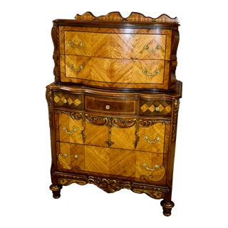 Antique Jacobean Ornate Carved Satinwood & Walnut Tall Chest For Sale