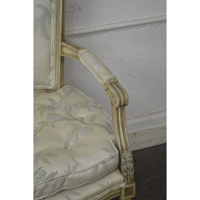 French Louis XVI Style Vintage Custom Paint Frame Fauteuil Arm Chair For Sale - Image 4 of 13