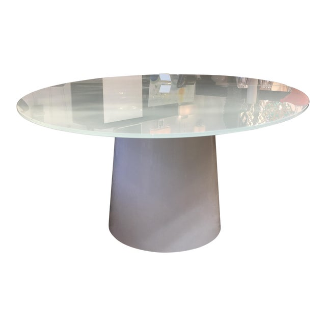 Antares Italian Oval Glass White-Lacquer Base Table For Sale