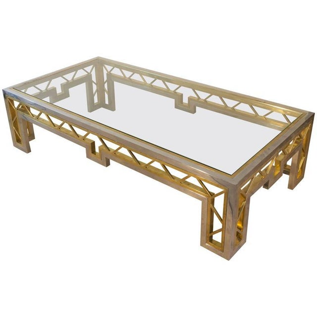 French 1970s Polished Steel and Brass Coffee Table with Glass Top - Image 8 of 8