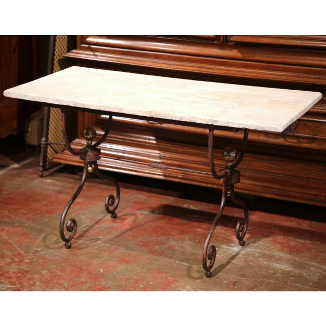 White 19th Century French Iron Bistrot Table With Stone Top and Bronze Mounts For Sale - Image 8 of 8